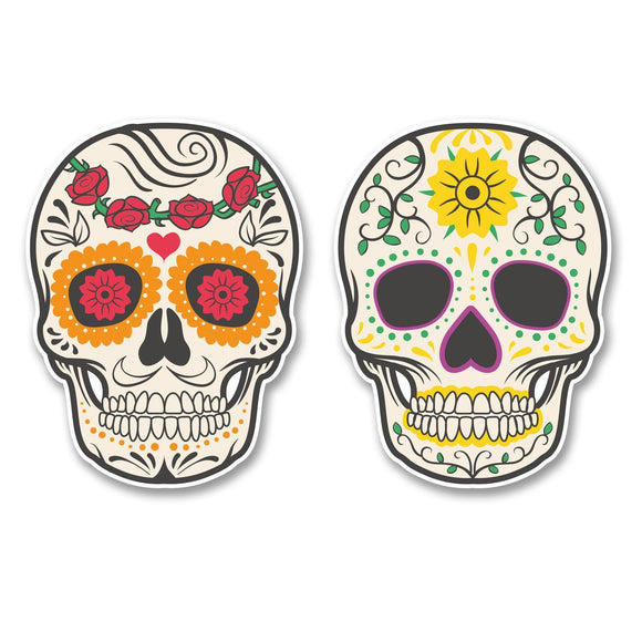 2 x Sugar Skull WINDOW CLING STICKER Car Van Campervan Glass #6228