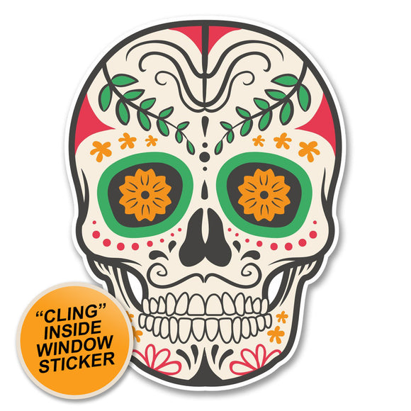 2 x Sugar Skull WINDOW CLING STICKER Car Van Campervan Glass #6230