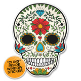 2 x Sugar Skull WINDOW CLING STICKER Car Van Campervan Glass #6231