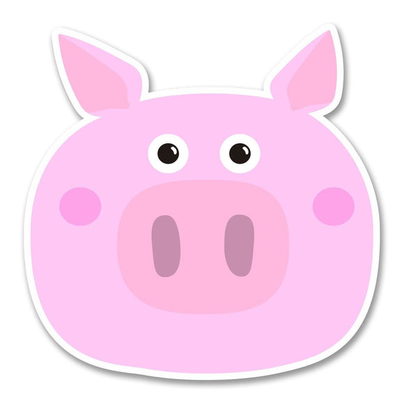 2 x Happy Pink Pig Vinyl Sticker #6235