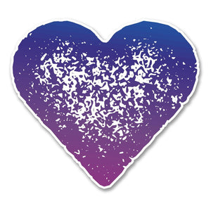 2 x Purple Love Heart Vinyl Sticker #6256