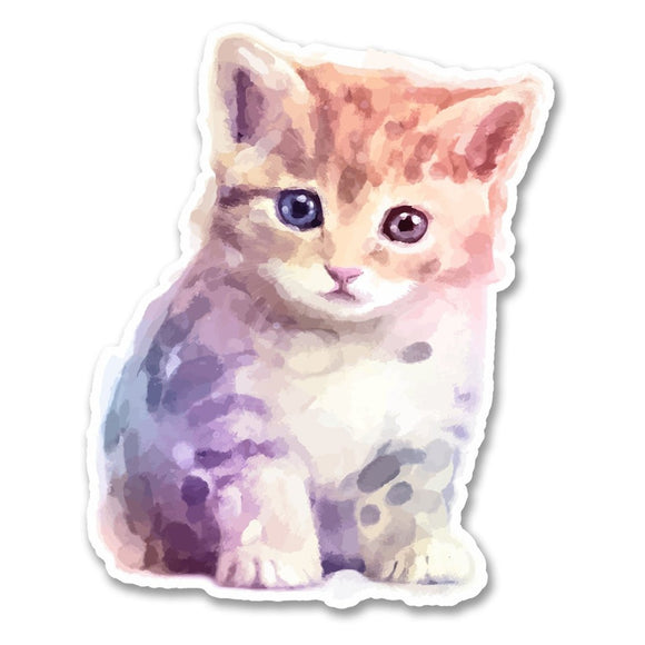 2 x Cute Watercolour Kitten Vinyl Sticker #6274