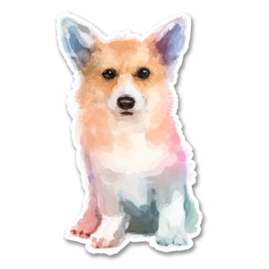 2 x Cute Watercolour Corgi Vinyl Sticker #6275