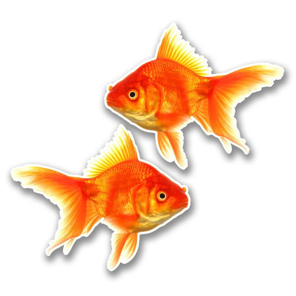 2 x Goldfish Vinyl Sticker #6289