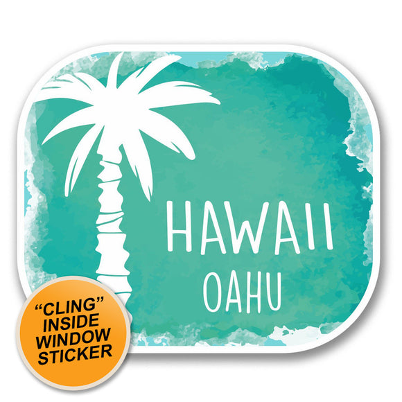2 x Oahu Hawaii USA Flag WINDOW CLING STICKER Car Van Campervan Glass #6313
