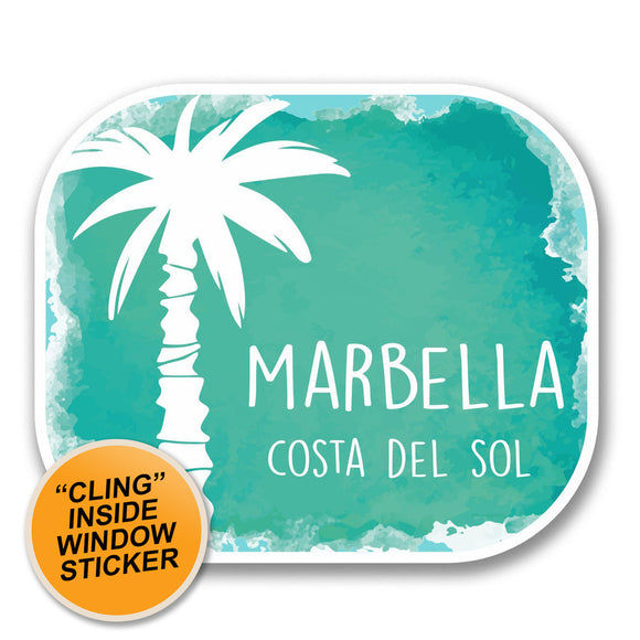 2 x Marbella Malaga Spain WINDOW CLING STICKER Car Van Campervan Glass #6332