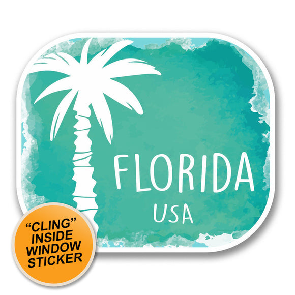 2 x Florida USA WINDOW CLING STICKER Car Van Campervan Glass #6348