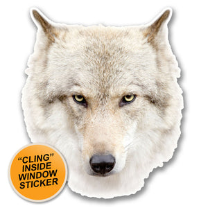 2 x White Husky Wolf Head WINDOW CLING STICKER Car Van Campervan Glass #6368