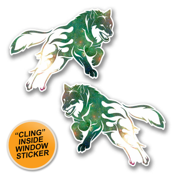 2 x Leaping Husky Wolf WINDOW CLING STICKER Car Van Campervan Glass #6369