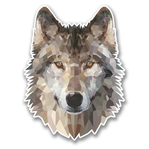 2 x Abstract Husky Wolf Vinyl Sticker #6370