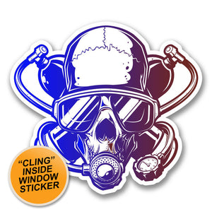 2 x Scuba Diver Skull WINDOW CLING STICKER Car Van Campervan Glass #6376