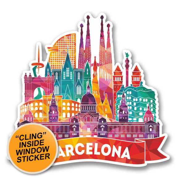 2 x Barcelona Catalunya Spain WINDOW CLING STICKER Car Van Campervan Glass #6381