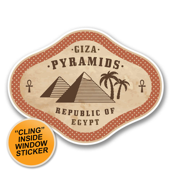 2 x Egypt Giza Pyramids WINDOW CLING STICKER Car Van Campervan Glass #6383