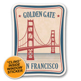 2 x Golden Gate Bridge San Francisco WINDOW CLING STICKER Car Van Campervan Glass #6386