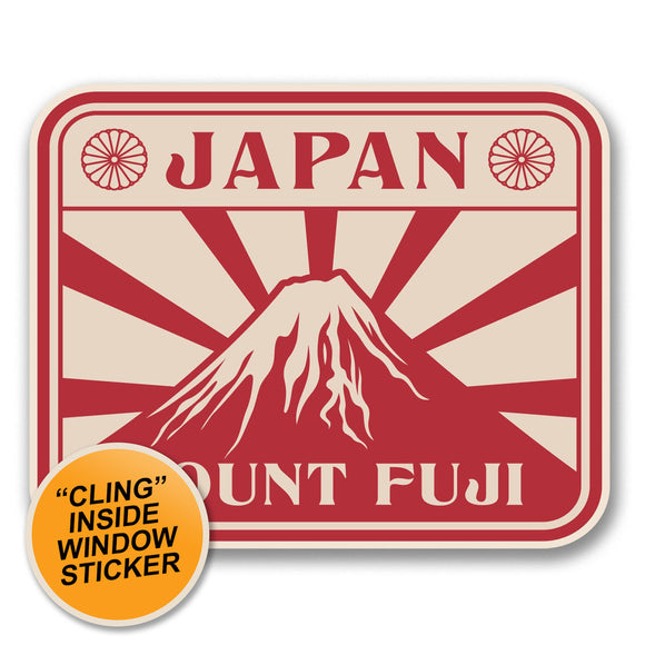 2 x Japan Mount Fuji WINDOW CLING STICKER Car Van Campervan Glass #6391