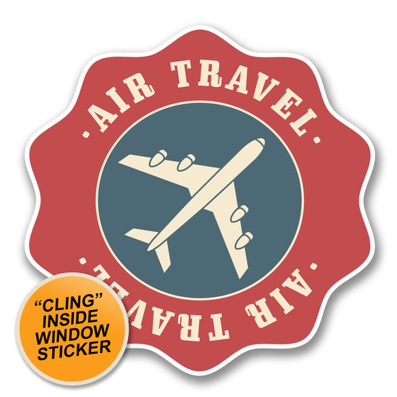 2 x Air Travel WINDOW CLING STICKER Car Van Campervan Glass #6392