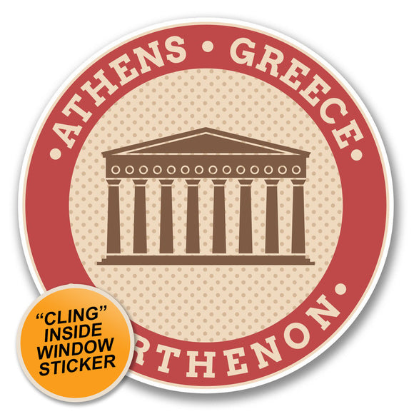 2 x Athens Greece Parthenon WINDOW CLING STICKER Car Van Campervan Glass #6393
