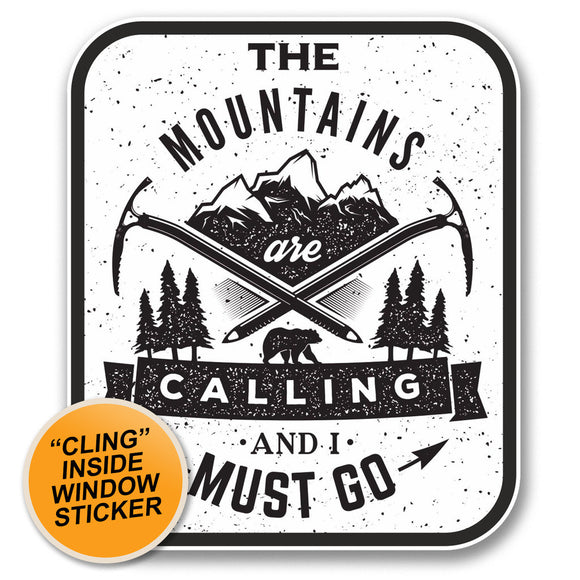 2 x The Mountains Are Calling WINDOW CLING STICKER Car Van Campervan Glass #6398