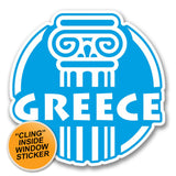 2 x Greece Greek WINDOW CLING STICKER Car Van Campervan Glass #6411