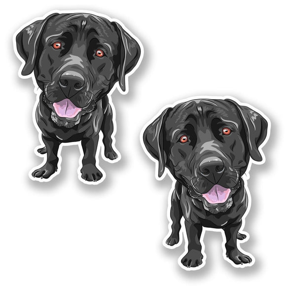 2 x Black Labrador Dog Vinyl Sticker #6416