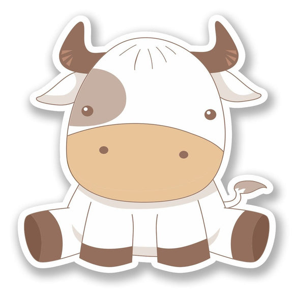 2 x Cute Cow Vinyl Sticker #6418