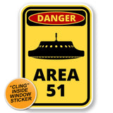 2 x Danger Area 51 WINDOW CLING STICKER Car Van Campervan Glass #6422