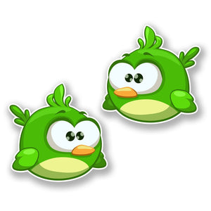 2 x Green Cartoon Bird Vinyl Sticker #6427