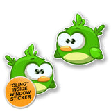 2 x Green Cartoon Bird WINDOW CLING STICKER Car Van Campervan Glass #6427