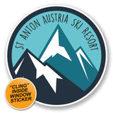 2 x St Anton Tyrol Austria Ski Snowboard Resort WINDOW CLING STICKER Car Van Campervan Glass #6434