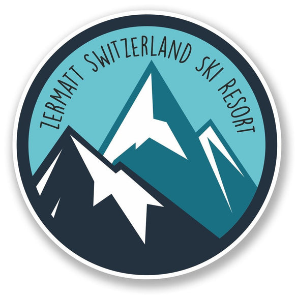 2 x Zermatt Switzerland Ski Snowboard Resort Vinyl Sticker #6438