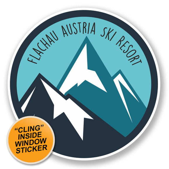 2 x Flachau Austria Ski Snowboard Resort WINDOW CLING STICKER Car Van Campervan Glass #6448