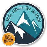 2 x Breuil-Cervinia Italy Ski Snowboard Resort WINDOW CLING STICKER Car Van Campervan Glass #6449