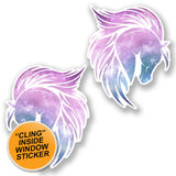 2 x Magical Pink Horse WINDOW CLING STICKER Car Van Campervan Glass #6451