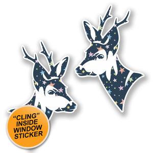 2 x Pretty Deer Head WINDOW CLING STICKER Car Van Campervan Glass #6452