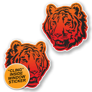 2 x Tiger Lion Cat WINDOW CLING STICKER Car Van Campervan Glass #6456