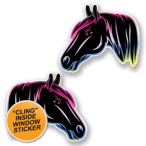 2 x Horse Head WINDOW CLING STICKER Car Van Campervan Glass #6458