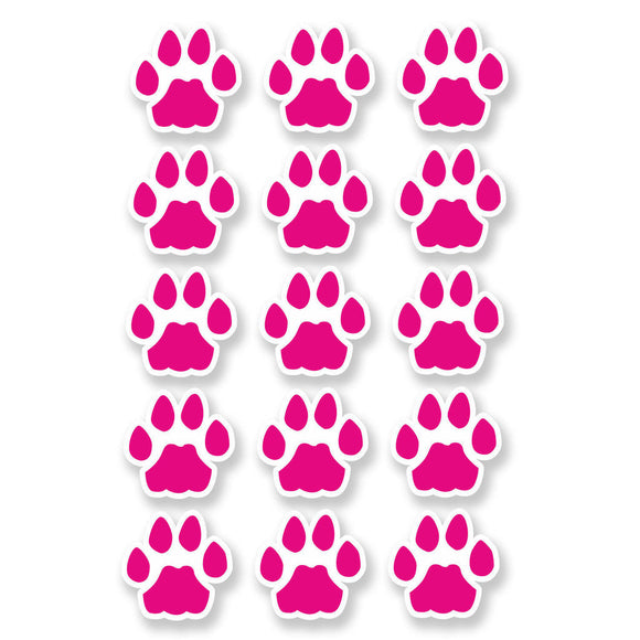 A4 Sheet 15 x Pink Cat Paw Prints Vinyl Stickers Animal Laptop Car Scooter #6463