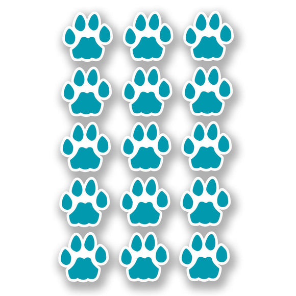 A4 Sheet 15 x Blue Cat Paw Prints Vinyl Stickers Animal Laptop Car Scooter #6464