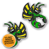 2 x Green Hornet Wasp WINDOW CLING STICKER Car Van Campervan Glass #6465