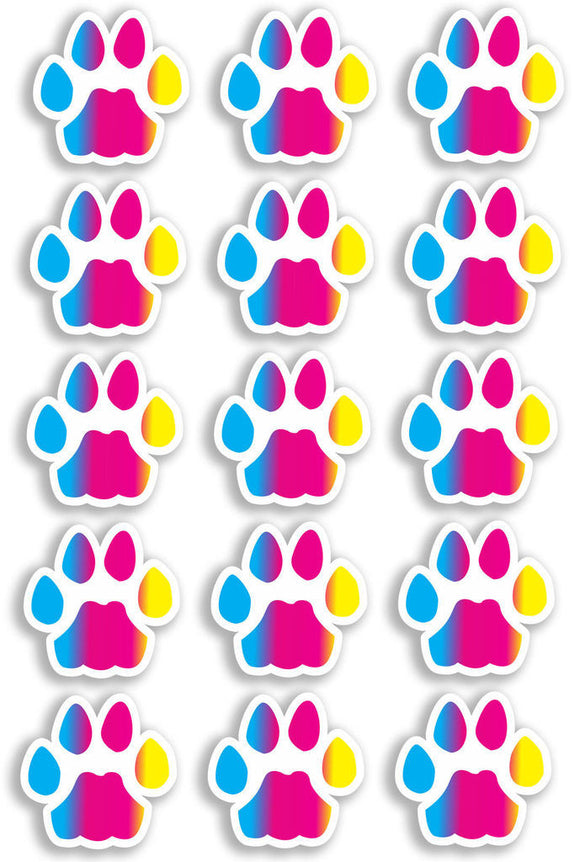 A4 Sheet 15 x Rainbow Cat Paw Prints Vinyl Stickers Animal Laptop Car Bike #6466