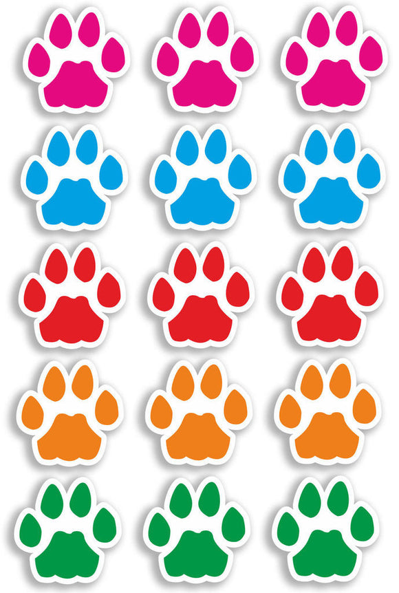 A4 Sheet 15 x Mixture Cat Paw Prints Vinyl Stickers Animal Laptop Car Bike #6469