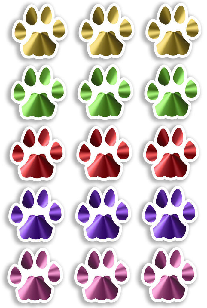 A4 Sheet 15 x Mixture Cat Paw Prints Vinyl Stickers Animal Laptop Car Bike #6470