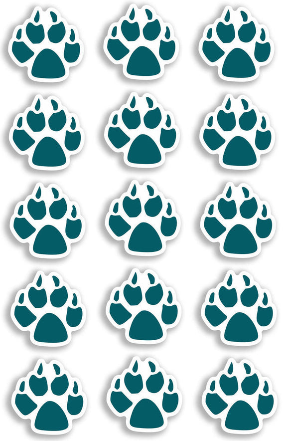 A4 Sheet 15 x Blue Dog Paw Prints Vinyl Stickers Animal Laptop Car Bike #6471