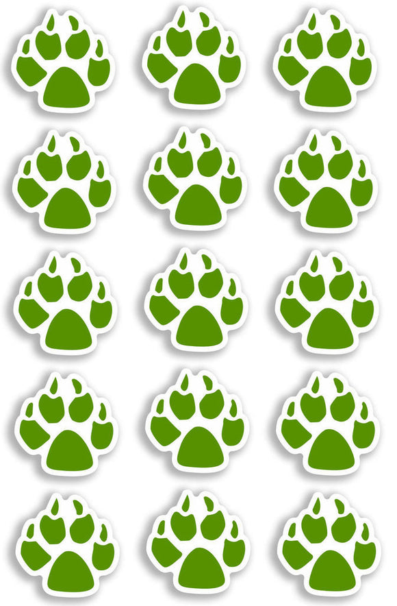 A4 Sheet 15 x Green Dog Paw Prints Vinyl Stickers Animal Laptop Car Bike #6472