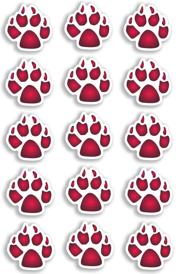 A4 Sheet 15 x Pink Dog Paw Prints Vinyl Stickers Animal Laptop Car Bike #6473