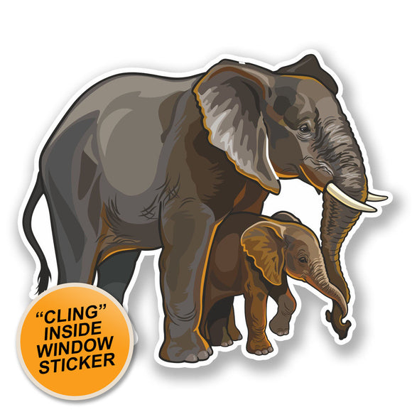 2 x Elephant Mother & Baby WINDOW CLING STICKER Car Van Campervan Glass #6483
