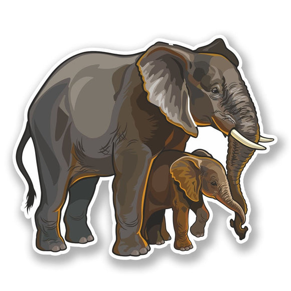 2 x Elephant Mother & Baby Vinyl Sticker #6483