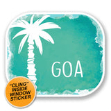 2 x Goa India Luggage Travel WINDOW CLING STICKER Car Van Campervan Glass iPad Sign Fun #6486