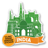 2 x India Luggage Travel WINDOW CLING STICKER Car Van Campervan Glass iPad Sign Fun #6487