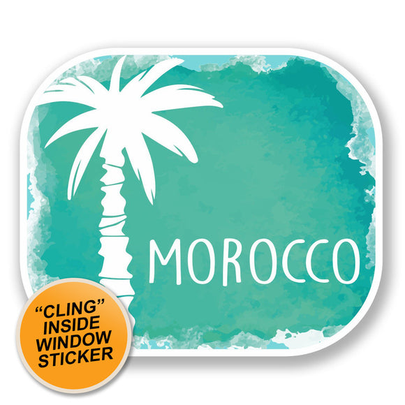 2 x Morocco Sticker Luggage Travel WINDOW CLING STICKER Car Van Campervan Glass iPad Sign Fun #6488